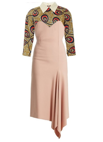 Lady Mentor African Print Draped Dress- Beige on maison aria