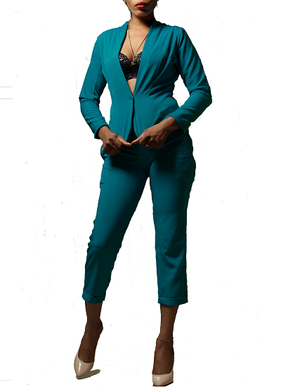 Monroe Jacket and Pants Set- Teal on maison aria