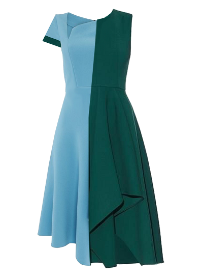 Inverness Block Dress- Blue and Green on maison aria