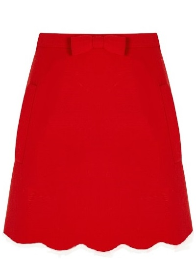 Sorority Queen Scallop Skirt- Red