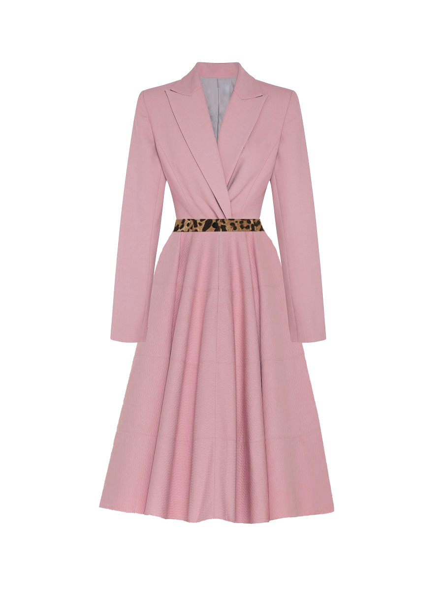 Tosin Accent Flared Dress - Pink on maison aria