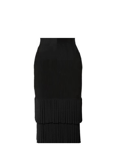 Donna Tiered Pleat Skirt- Black on maison aria