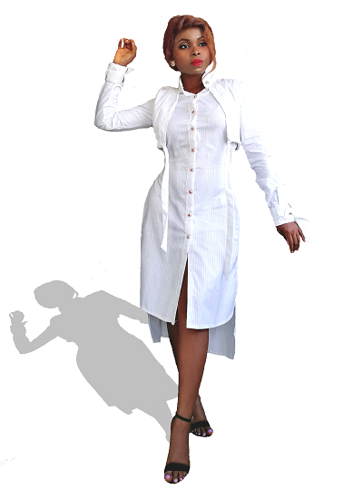 Seoul Shirt Dress - White on maison aria