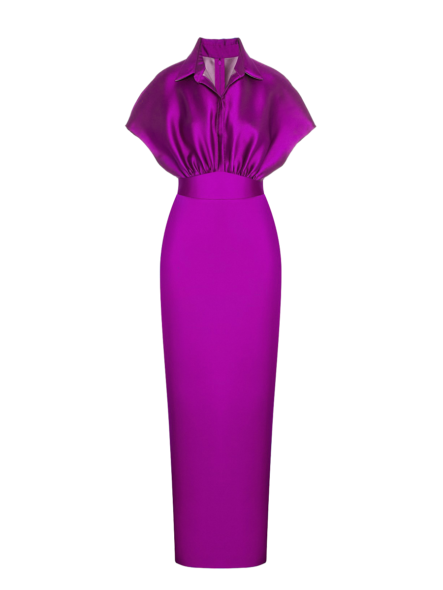 Violet Satin Maxi Dress- Resort '20 Collection