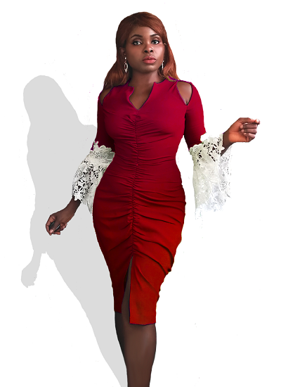 Nairobi Ruched Dress- Red