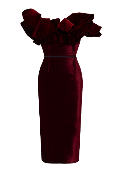 Eko Ruffled Dress- Burgundy on maison aria