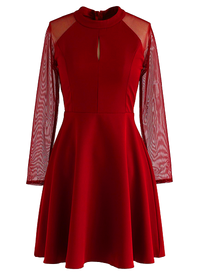 Katie Flared Dress- Red