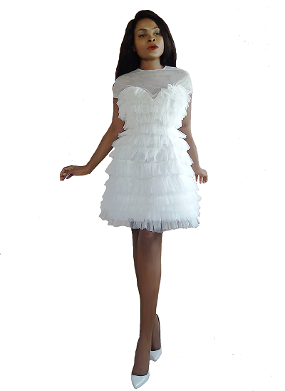 Havana Tulle Dress- White