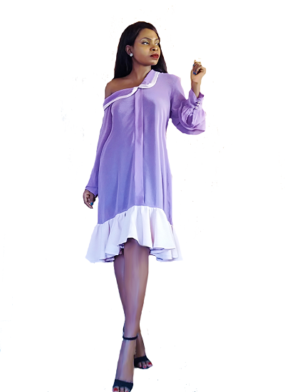 Solange Chiffon Dress- Lilac
