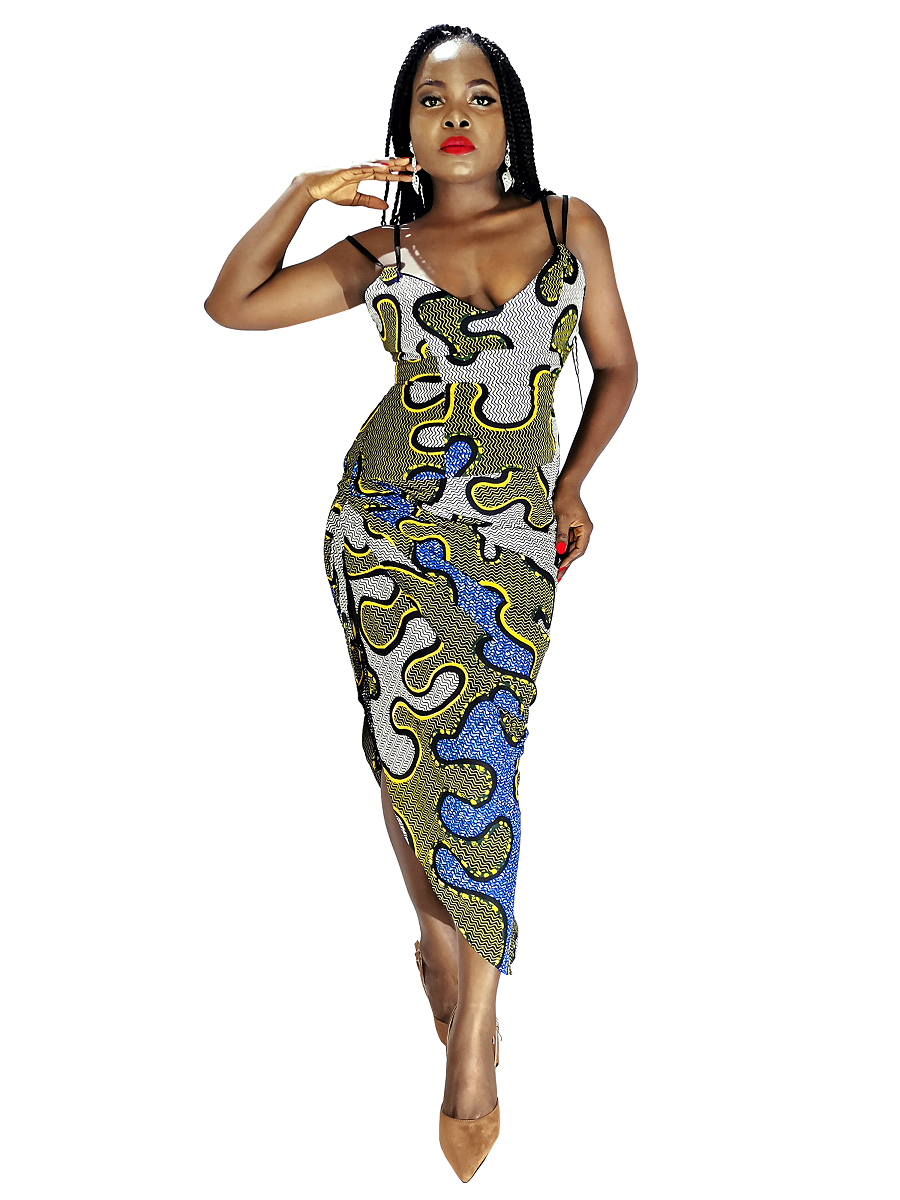 Fia Draped Ankara Dress
