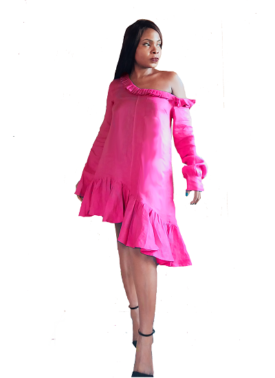 Ehi Shirt Dress- Pink