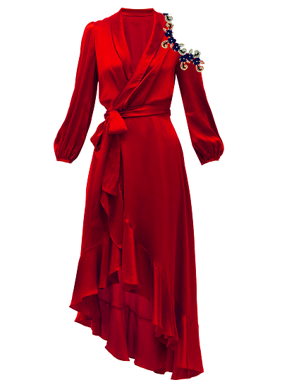 Medina Wrap Dress-Cherry