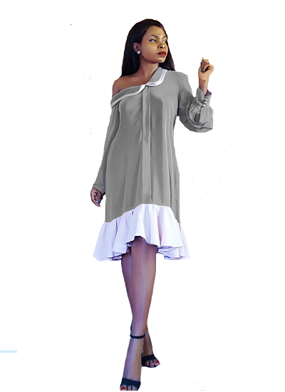 Solange Chiffon Dress- Gray