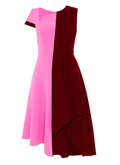Inverness Block Dress- Pink and Burgundy on maison aria